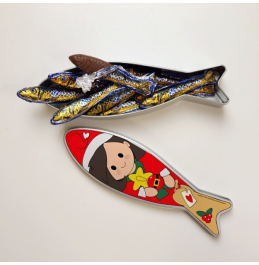 TIN SHAPE SARDINE MOTHER / FATHER CHRISTMAS