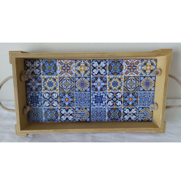 """Wooden tray """"Azulejos Portugueses"""" with rope handle"""